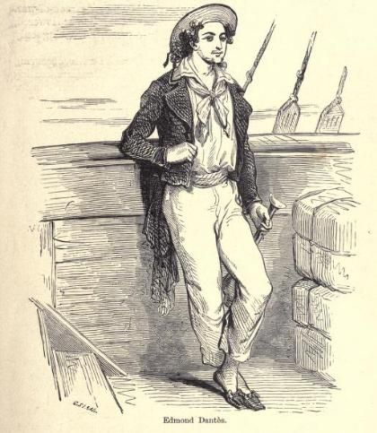 Illustration of Edmond Dantes in his uniform from the book.