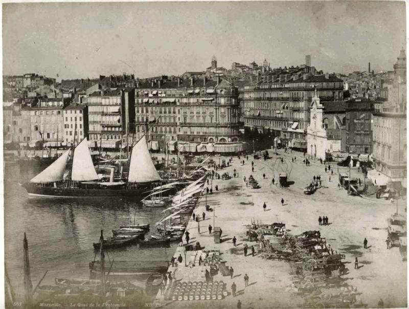 Photograph of Marseilles Harbor, circa 1880.